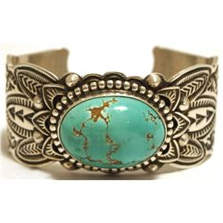 Old Pawn Navajo Smiths Turquoise Sterling Silver Cuff Bracelet - Arnold Blackgoat