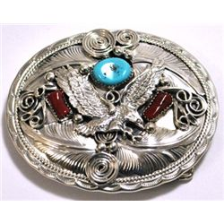 Navajo Coral & Turquoise Sterling Silver Flying Bird Buckle - Allen Chee