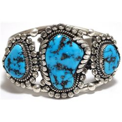 Old Pawn Navajo Sleeping Beauty Turquoise Sterling Silver Cuff Bracelet - M