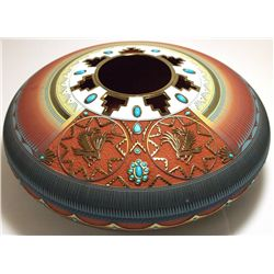Navajo Etched & Painted Turquoise & 14k Gold Eagle Pottery - Lori Smith