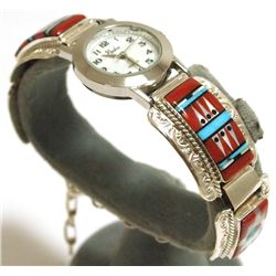 Zuni Multi-Stone Inlay Sun Face Link Bracelet Women's Watch - Raylan & Patty Edaakie