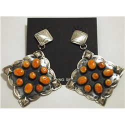 Navajo Orange Spiny Oyster Sterling Silver Earrings - Albert J Brown