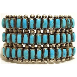 Old Pawn Navajo Turquoise Sterling Silver Cuff Bracelet - EQ