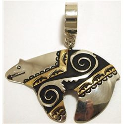 Navajo 12k Gold Fill over Sterling Silver Bear Pendant - Tommy Singer