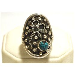 Navajo Spider Web Turquoise Sterling Silver Dragonfly Women's Ring - Shakey