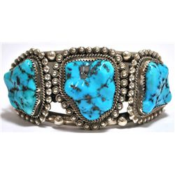 Old Pawn Sleeping Beauty Turquoise Sterling Silver Cuff Bracelet - MM