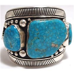 Old Pawn Navajo Morenci Turquoise Sterling Silver LARGE Cuff Bracelet - Tommy Singer