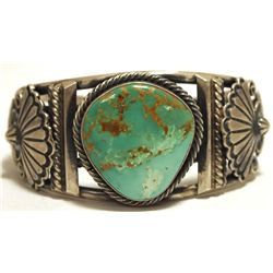 Old Pawn Navajo Green Fox Turquoise Sterling Silver Cuff Bracelet - Emer Thompson