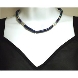 Navajo Lapis Lazuli & Multi-Stone Sterling Silver Necklace - Tommy Singer