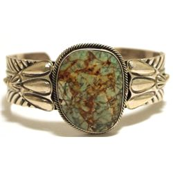 Old Pawn Navajo Boulder Turquoise Sterling Silver Cuff Bracelet - JT
