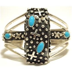 Navajo Turquoise Sterling Silver Crosses Cuff Bracelet - Leroy James