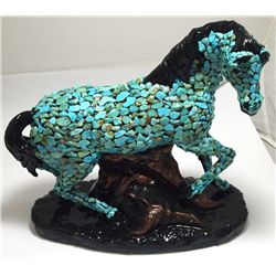 Navajo Turqouise Stone over Black & Copper Tone Glazed Pottery Horse