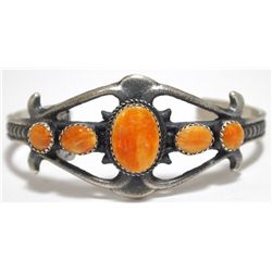 Navajo Orange Spiny Oyster Sterling Silver Cuff Bracelet - Albert Brown