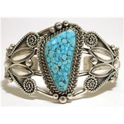 Navajo Spider Web Kingman Turquoise Sterling Silver Cuff Bracelet - Mary Ann Spencer