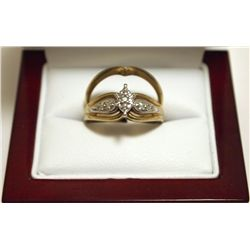 Dead Pawn Non-Native Diamond 10k Gold Complementary Women's Ring Set