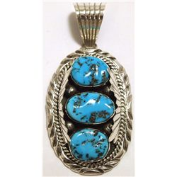 Navajo Sleeping Beauty Turquoise Sterling Silver Pendant - Mary Ann Spencer