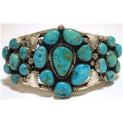 Old Pawn Navajo Morenci Turquoise Sterling Silver Cuff Bracelet - Mary Morgan
