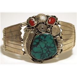 Old Pawn Navajo Spider Web Turquoise & Coral Sterling Silver Cuff Bracelet