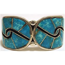 Old Pawn Navajo Sleeping Beauty Turquoise Inlay Sterling Silver Cuff Bracelet - Henry Sam