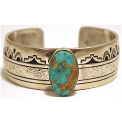 Old Pawn Navajo Pilot Mountain Turquoise Sterling Silver Cuff Bracelet - CJ