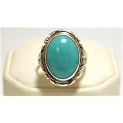 Navajo Turquoise Sterling Silver Women's Ring - P. Skeets