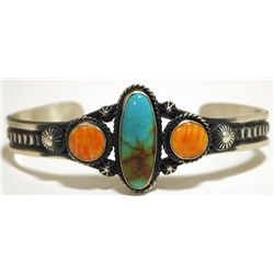 Navajo Spiny Oyster & Turquoise Sterling Silver Cuff Bracelet - ELB