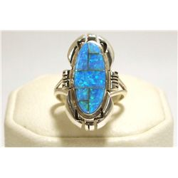 Navajo Blue Opal Inlay Sterling Silver Women's Ring - Ray Jack