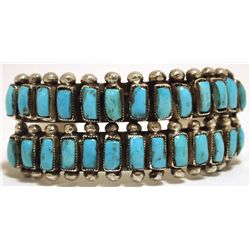 Old Pawn Zuni Sleeping Beauty Turquoise Sterling Silver Cuff Bracelet - Eleanor Ahiyite