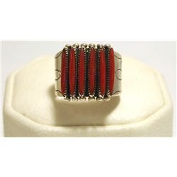 Zuni Coral Sterling Silver Men's Ring - Shirley Quam