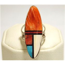Navajo Multi-Stone Inlay Sterling Silver Women's Ring - H. Smith