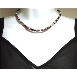 Navajo Spiny Oyster & Turquoise Sterling Silver Necklace - Tommy Singer