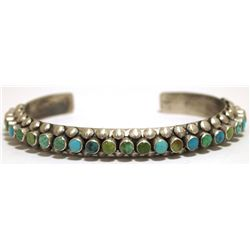 Old Pawn Navajo Multi-Turquoise Sterling Silver Cuff Bracelet - Raymond Bitsue