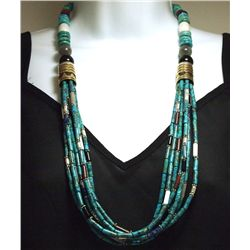 Navajo Turquoise & Multi-Stone 7-Strand Sterling Silver Necklace - Tommy Singer