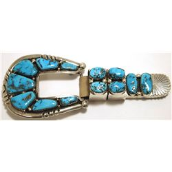 Old Pawn Zuni Sleeping Beauty Turquoise Sterling Silver Ranger Buckle - Robert & Bernice Leekya