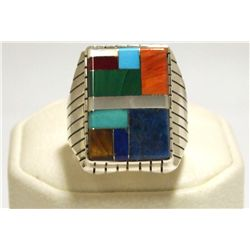 Navajo Multi-Stone Inlay Sterling Silver Men's Ring - Ray Jack