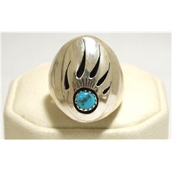 Navajo Turquoise Sterling Silver Bear Paw Men's Ring - Rose Ann Silago