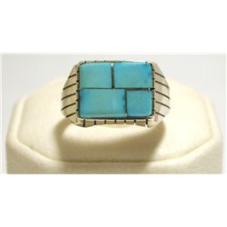Navajo Turquoise Inlay Sterling Silver Men's Ring - Ray Jack