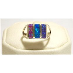 Zuni Multi-Color Opal Inlay Sterling Silver Women's Ring - Cheryl Siutza