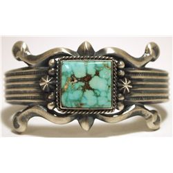 Old Pawn Navajo #8 Turquoise Sterling Silver Cuff Bracelet - Henry Bitsue