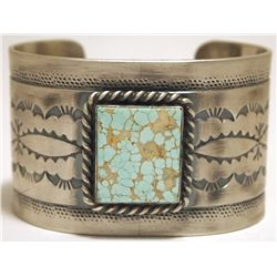 Old Pawn Navajo #8 Turquoise Sterling Silver Cuff Bracelet - Melvin Francis