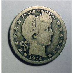 1914-S BARBER LIBERTY QUARTER ABOUT VG