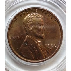 1928-D LINCOLN ONE CENT GEM BU RED, FEW SPOTS