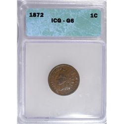 1872 INDIAN ONE CENT ICG GOOD 6 CLOSE TO VG