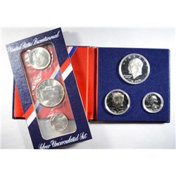1976 3 PIECE 40% SILVER U.S. MINT SET AND PROOF SET IN ORIGINAL PACKAGING