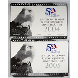 2004 AND 2005 UNITED STATES MINT  SILVER STATE QUATERS PROOF SETS