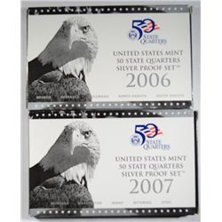 2006 AND 2007 UNITED STATES MINT SILVER STATE QUARTERS  PROOF SETS