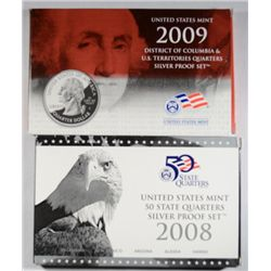 2008 AND 2009 UNITED STATES MINT SILVER QUARTERS PROOF SETS