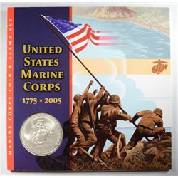 U.S. STATES MARINES 2005 COIN AND STAMP SET FROM THE U.S. MINT LESS THAN 50,000