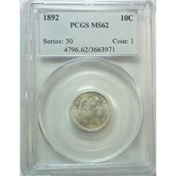 1892  Barber dime   PCGS62 NO REASON NOT A 63  Est $160-$170
