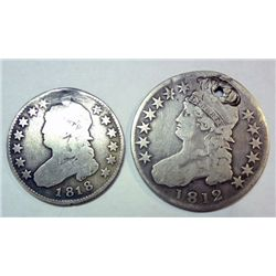 1818  Bust quarter holed/plugged  1812 half $ holed  Est $90-$95